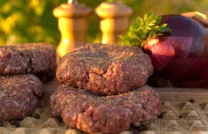 Freshly prepared burgers